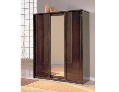 model lemari baju minimalis 2 pintu dari kayu modern