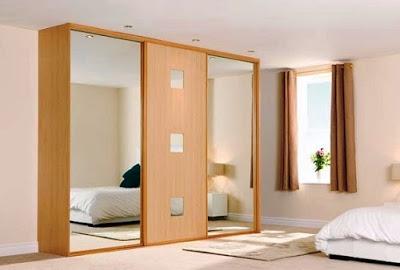 model lemari pakaian minimalis dari kayu modern 2 pintu