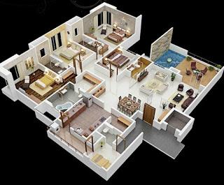 Denah Rumah Minimalis 3 Kamar Tidur 3D TERBARU 2017